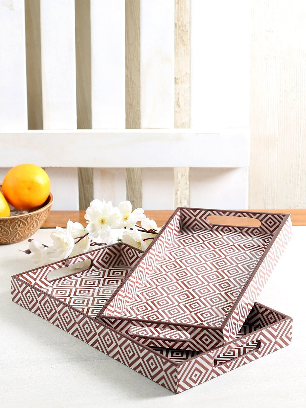 Handcrafted Geometry Delight Trays (Set of 2)