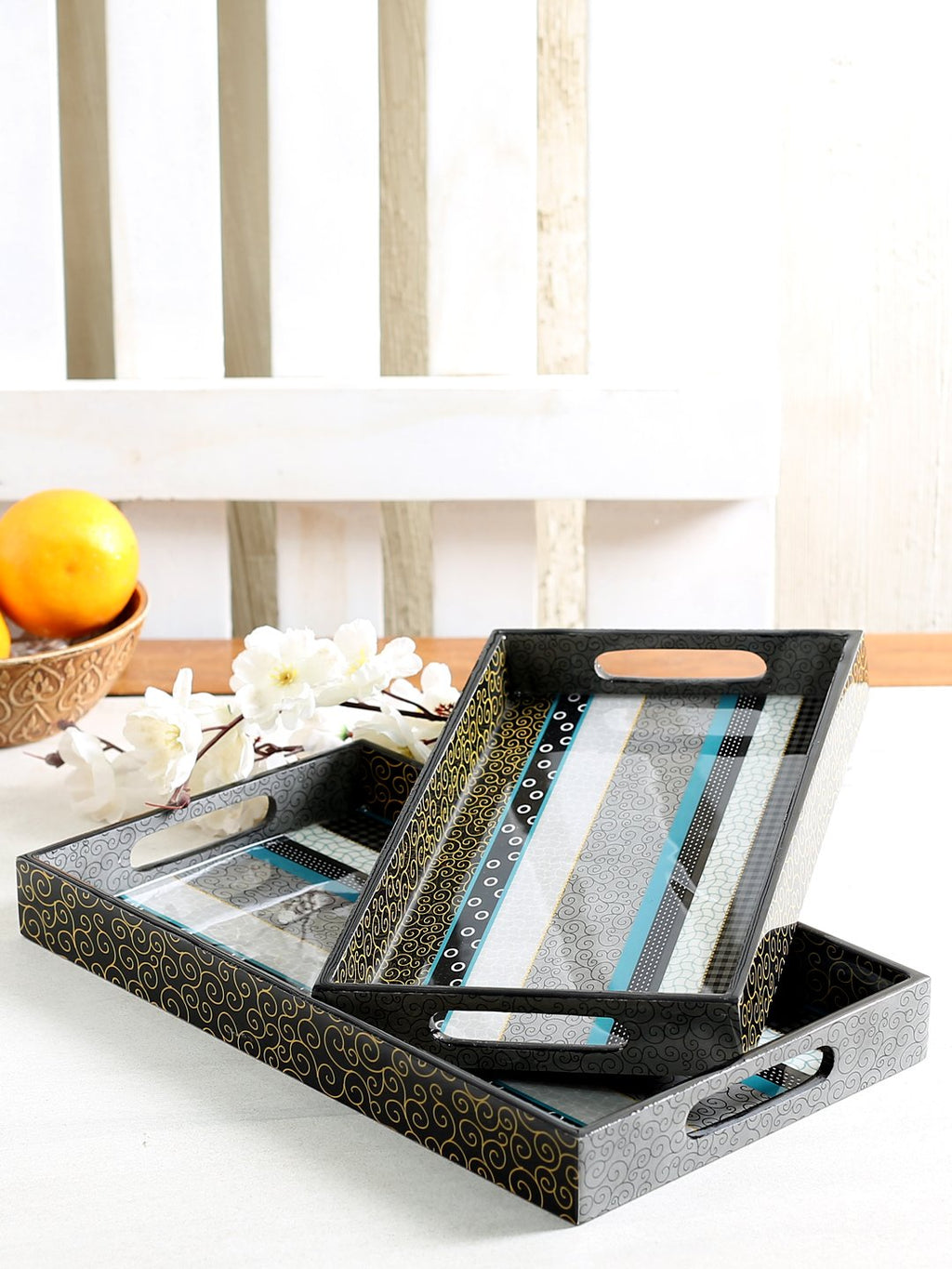 Handcrafted Contemporary Layers Trays (Set of 2)
