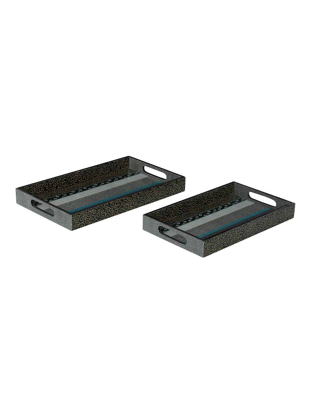 RANGRAGE Contemporary Layers Trays & Mugs Combo (Set of 8)