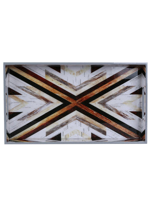 Handcrafted Mosaic Magic Rectangular Wooden Trays - Set Of 2