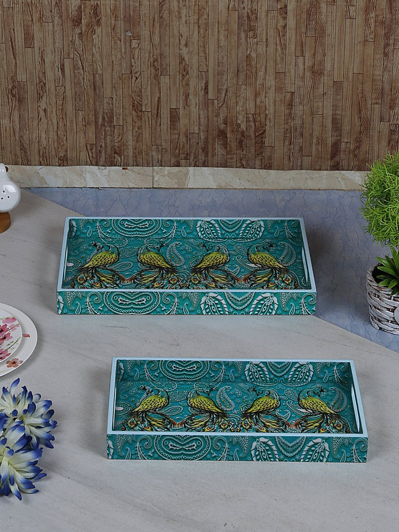 Handcrafted Pleasing Peacocks Rectangular Wooden Trays - Set Of 2
