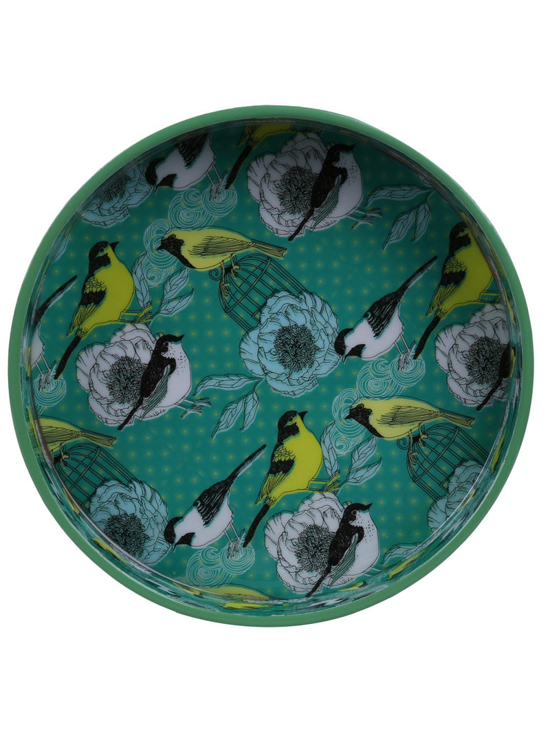 Handcrafted Enchanting Birds Circular Wooden Trays - Set Of 2