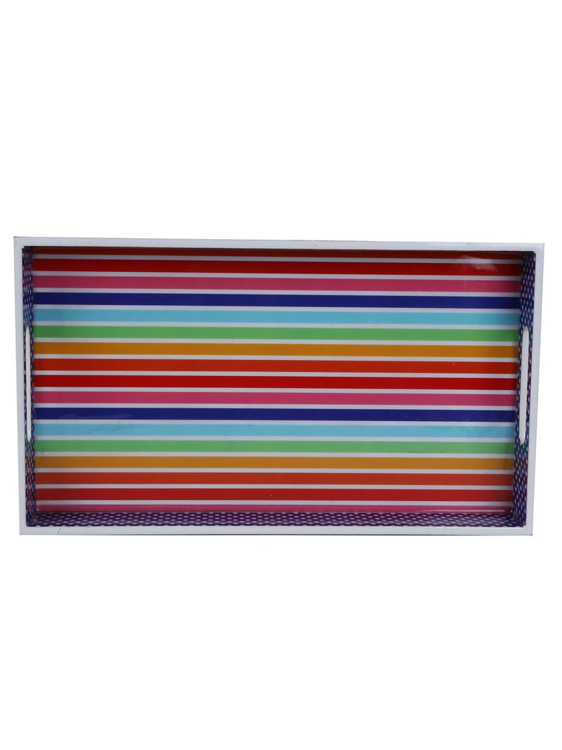 Handcrafted Love Of Colors Rectangular Wooden Trays - Set Of 2