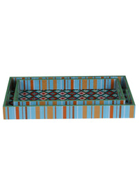 Handcrafted Pastel Pleasure Rectangular Wooden Trays - Set Of 2
