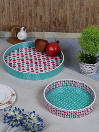 Handcrafted The Polka Love Circular Wooden Trays - Set Of 2