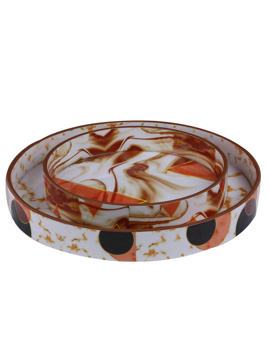 Handcrafted Marble Magic Circular Wooden Trays - Set Of 2