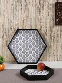 RANGRAGE Handcrafted Hexagonal Serving Trays (Set of 2)