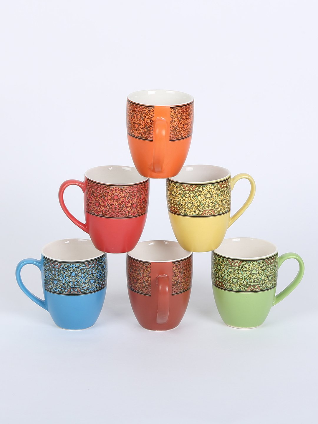RANGRAGE Handcrafted Mugal Garden Tea/Coffee Mugs (Set of 6)