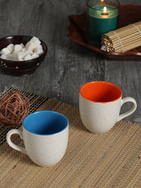 RANGRAGE Handcrafted Solid White Tea/Coffee Mugs (Set of 6)