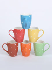 RANGRAGE Handcrafted Minimalist Polka Tea/Coffee Mugs (Set of 6)