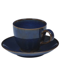 Handcrafted Denim Navy Blue Tea Mugs With Saucer Set of 6