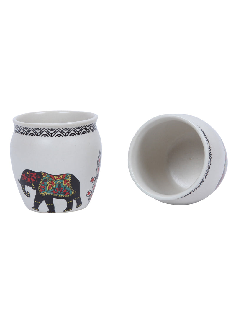 Handcrafted Minimalist White Matt Elephant Design Kulhads set of 6