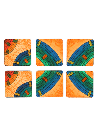 Hand-painted Mandana With Waves Coaster Set