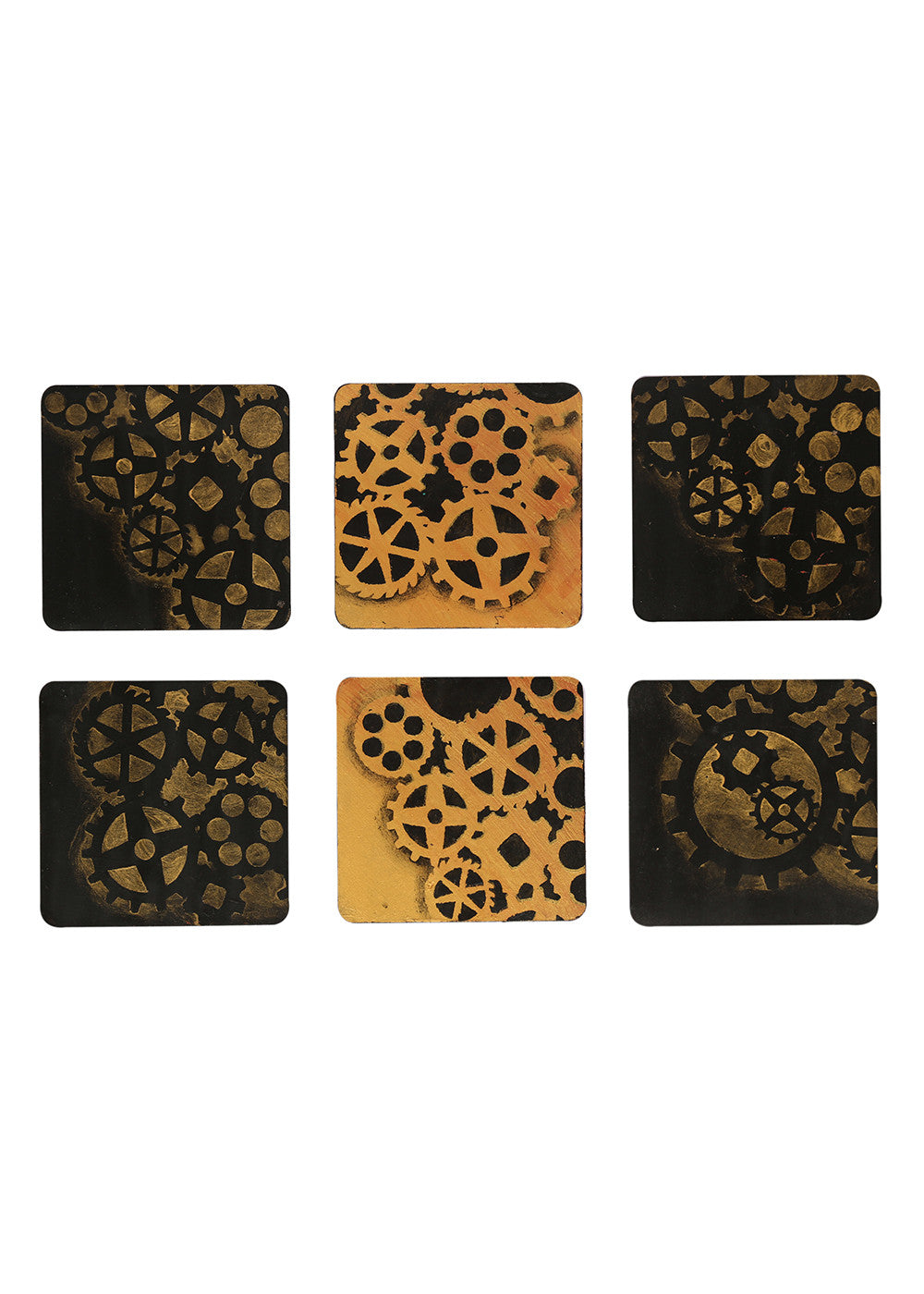 Hand-painted Rustic Steampunk Coaster Set - RANGRAGE
