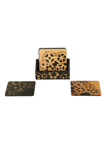 Hand-painted Rustic Steampunk Coaster Set