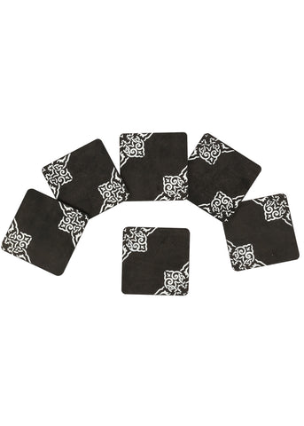 Hand-painted Greying Motif Coaster Set