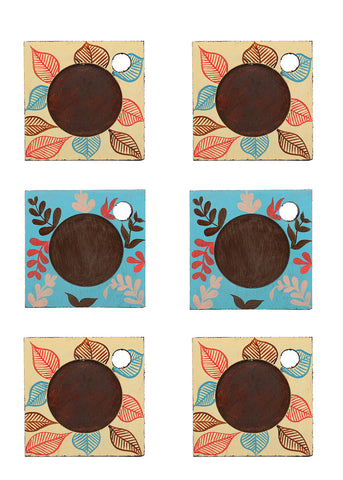 Hand-painted Classy Flower Mangowood Coasters set of 6 pcs