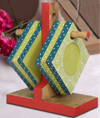 Hand-painted Midas Mangowood Coasters set of 6 pcs