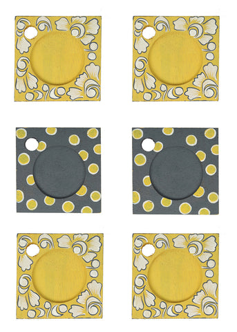 Hand-painted Subdued Mangowood Coasters set of 6 pcs