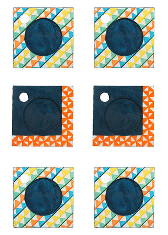 Hand-painted Tirbal Mangowood Coasters set of 6 pcs