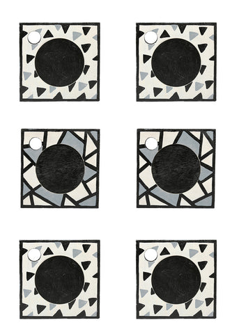 Hand-painted Monochrome Mangowood Coasters set of 6 pcs