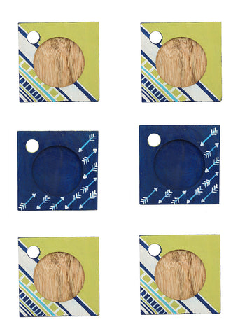 Hand-painted Tribal Mangowood Coasters set of 6 pcs