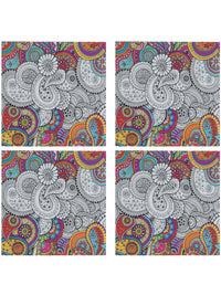 Handcrafted Paisley delight Coasters with Stand(Set of 4)