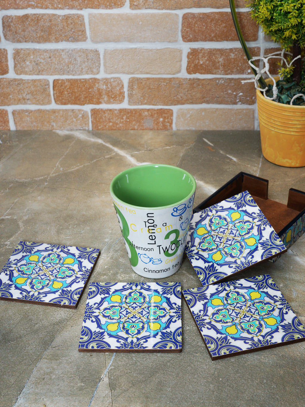 Handcrafted Persian Delight Coasters with Stand(Set of 4)