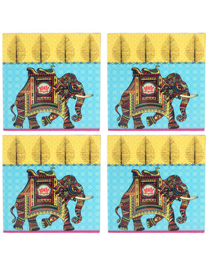 Handcrafted Regal Elephant Coasters with Stand(Set of 4)