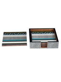 Classic Designer Colorful Printed Wooden Table Coasters Set of 4