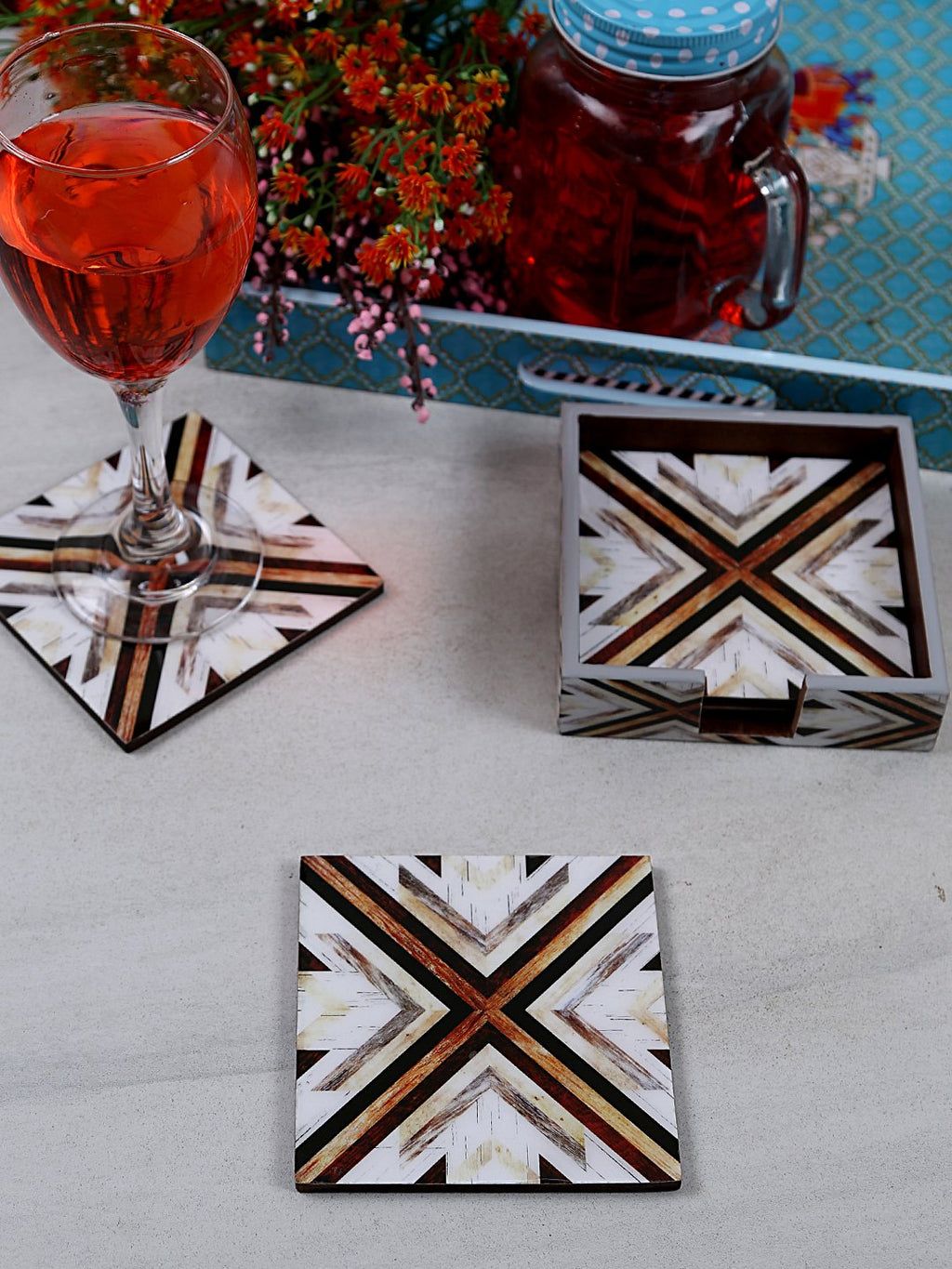 Handcrafted Mosaic Magic Square Wooden Coasters Set Of 4