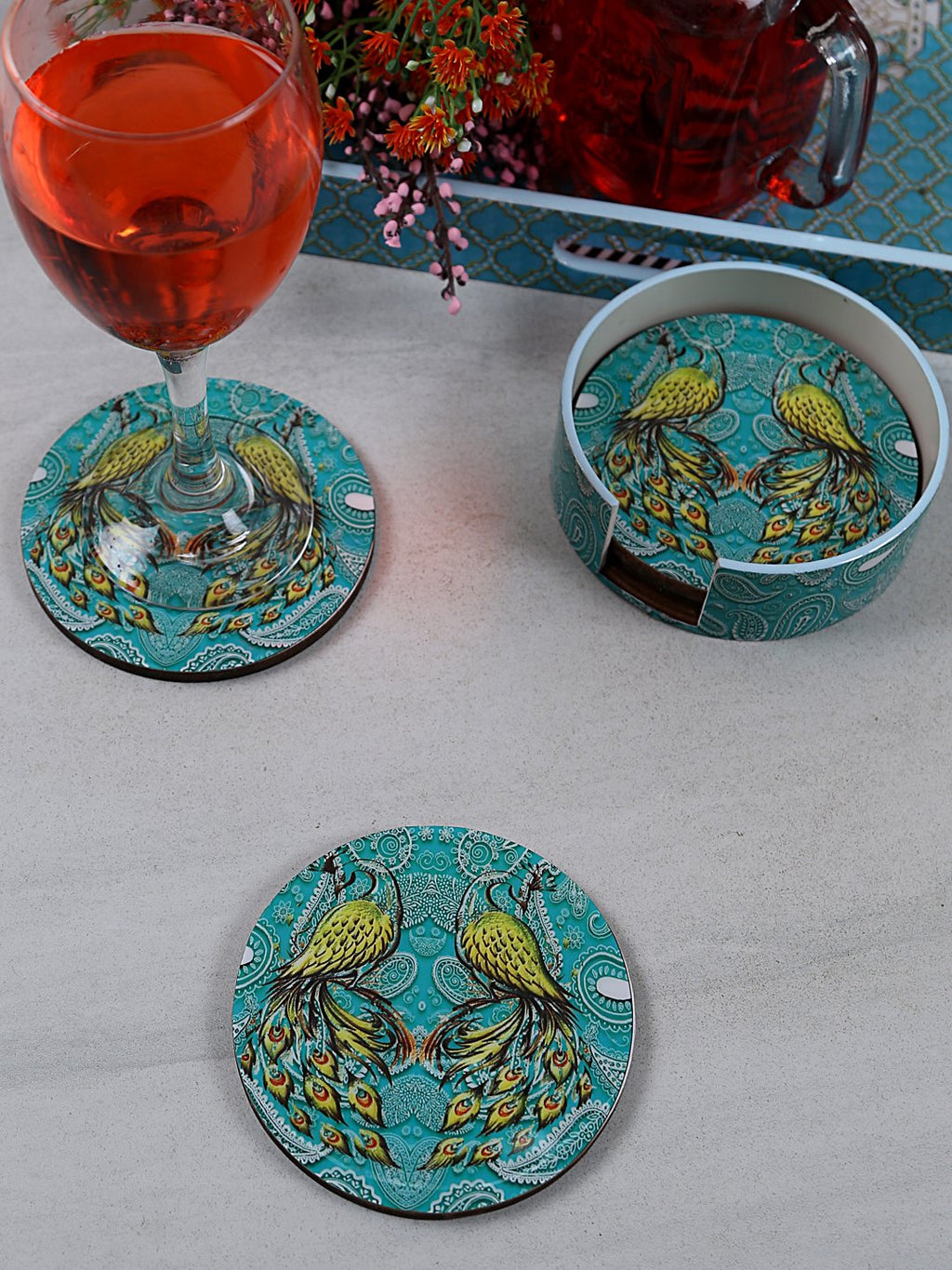 Handcrafted Pleasing Peacocks Circular Wooden Coasters Set Of 4