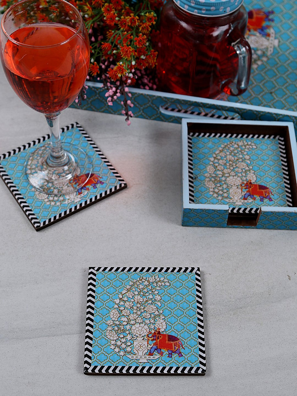 Handcrafted Paisley Elephant Square Wooden Coasters Set Of 4