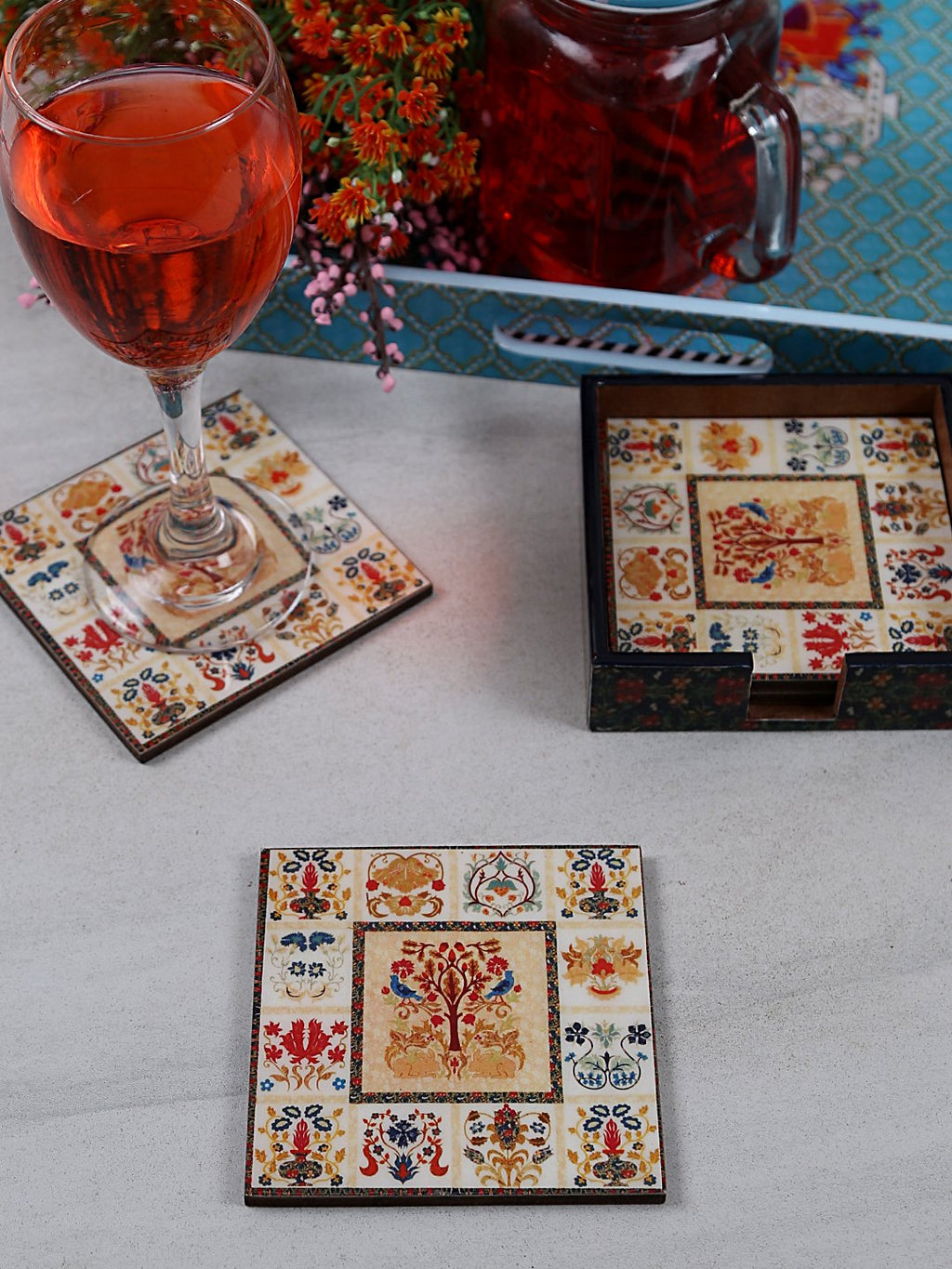 Handcrafted Mughal Magic Square Wooden Coasters Set Of 4