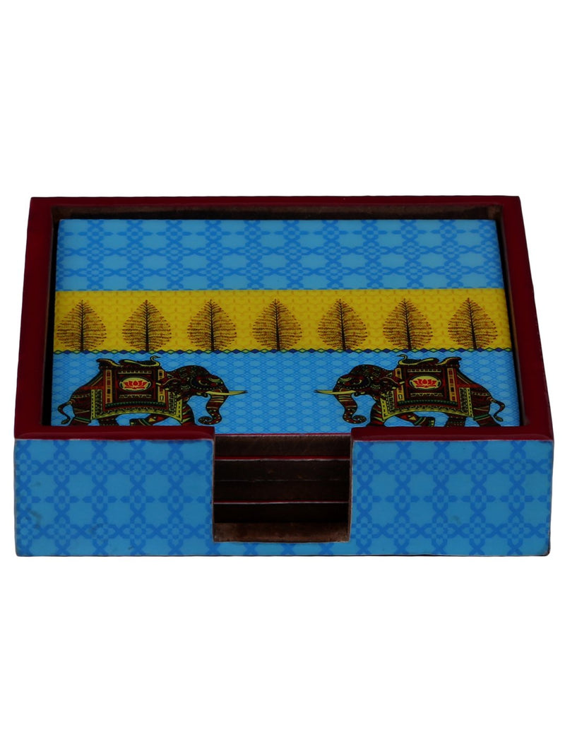 Handcrafted Turquoise Elephant Square Wooden Coasters Set Of 4