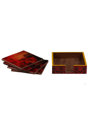 Handcrafted Floral Mughal Square Wooden Coasters Set Of 4