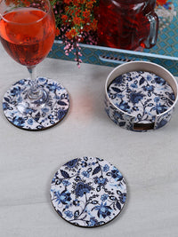 Handcrafted Persian Floral Circular Wooden Coasters Set Of 4