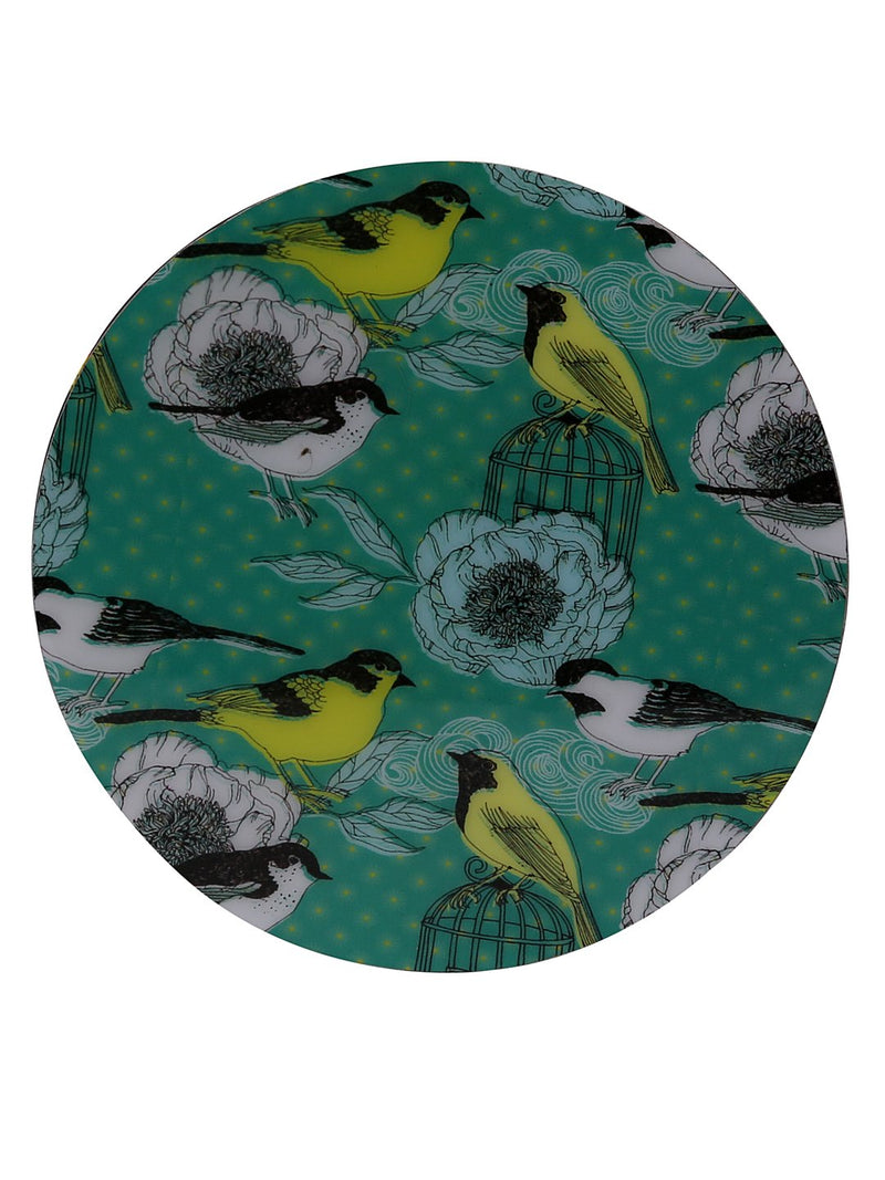 Handcrafted Enchanting Birds Circular Wooden Coasters Set Of 4