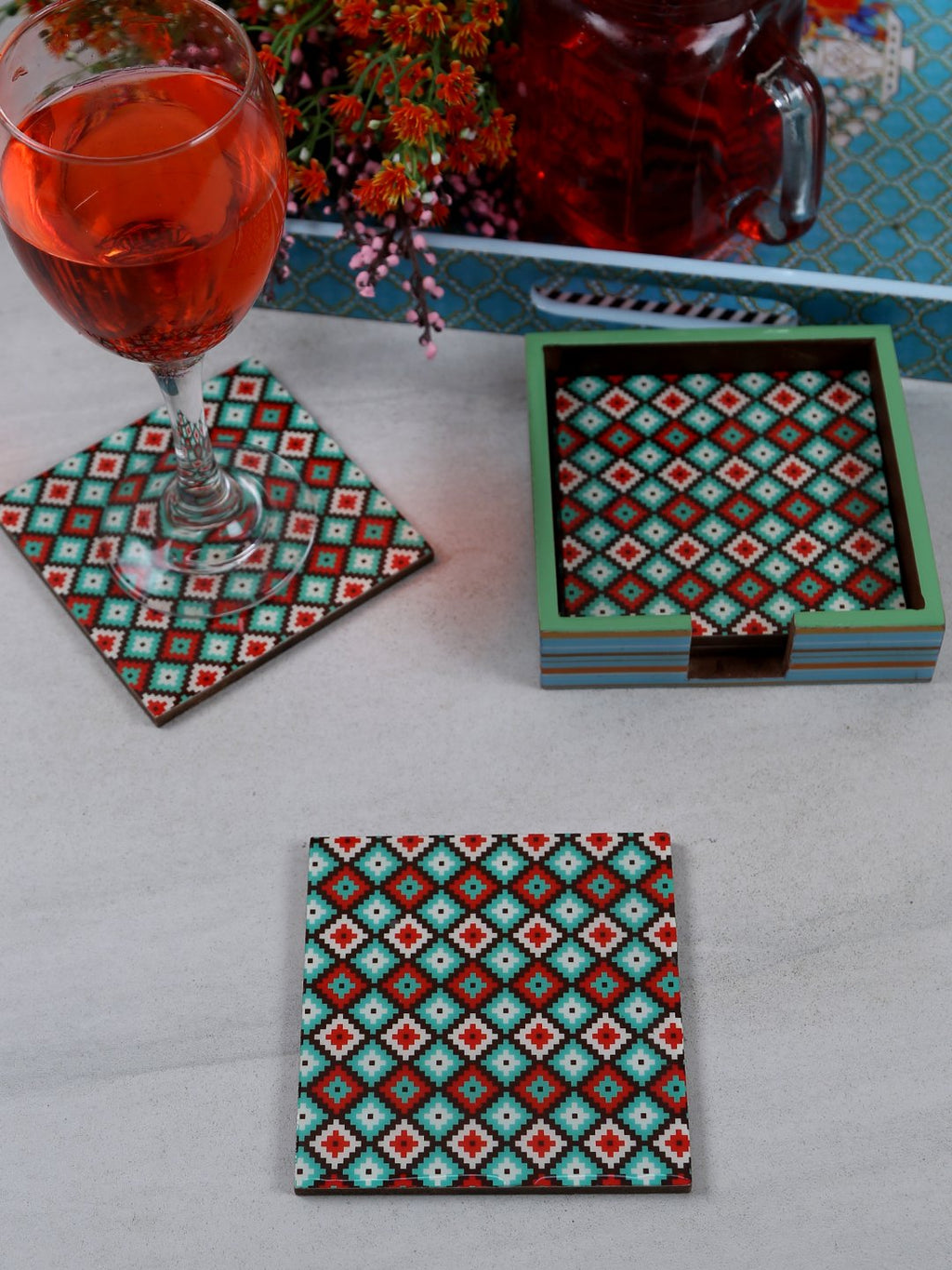 Handcrafted Pastel Pleasure Square Wooden Coasters Set Of 4