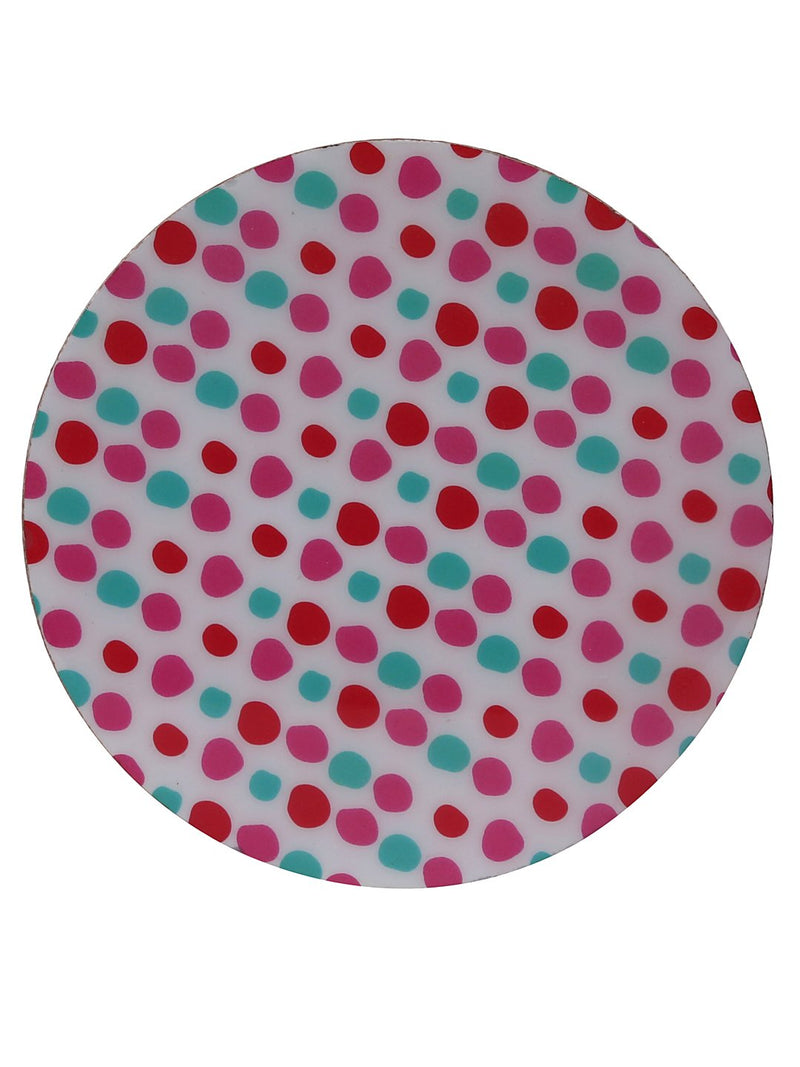Handcrafted The Polka Love Circular Wooden Coasters Set Of 4