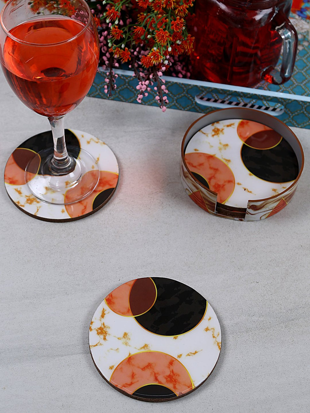 Handcrafted Marble Magic Circular Wooden Coasters Set Of 4