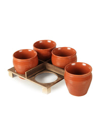 RANGRAGE Designer Kulhad Tray with 4 Kulhads