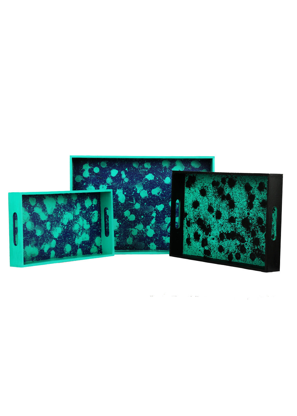 Hand-painted Color Droplets Trays (Set of 3) - RANGRAGE