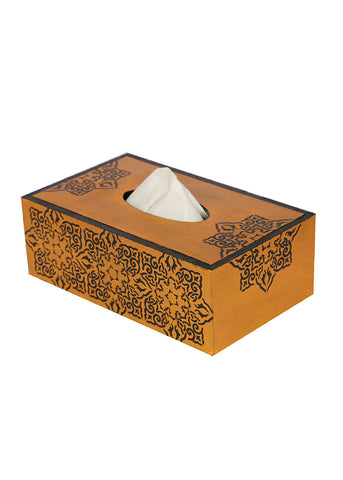 Hand-painted Classic Gold Mughal Tissue Box Holder