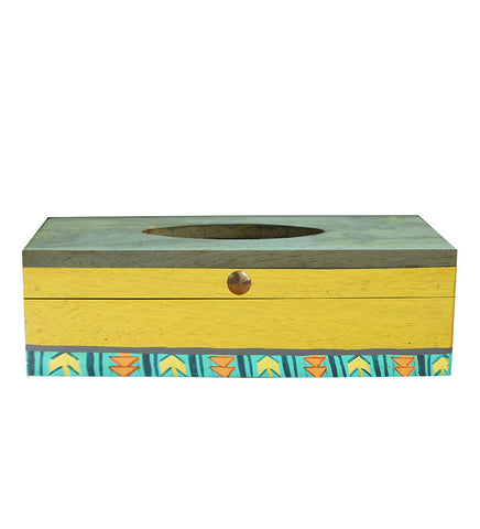 Handcrafted Minimalistic Yellow Mangowood Tissue Box