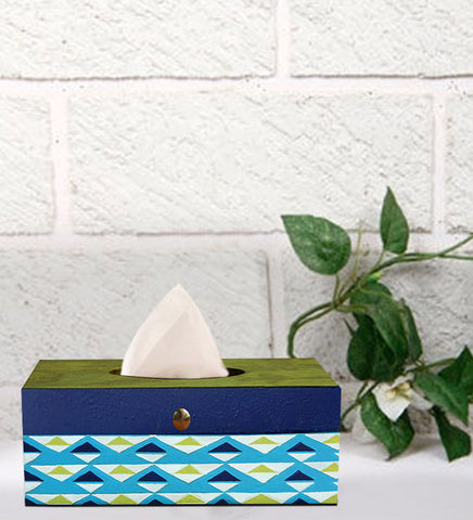 Handcrafted Green Triangle Mangowood Tissue Box