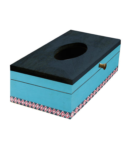 Handcrafted Minimalistic Blue Mangowood Tissue Box