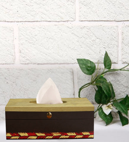 Handcrafted Green Tribal Mangowood Tissue Box