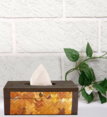 Handcrafted Earthy Brown Mangowood Tissue Box