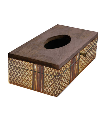 Handcrafted Brown Pallete Mangowood Tissue Box